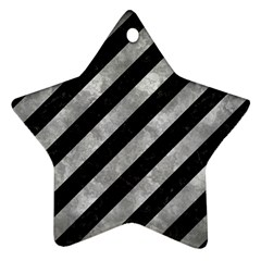 Stripes3 Black Marble & Gray Metal 2 Star Ornament (two Sides) by trendistuff