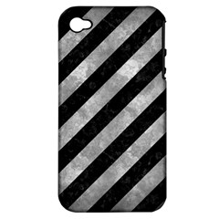 Stripes3 Black Marble & Gray Metal 2 Apple Iphone 4/4s Hardshell Case (pc+silicone) by trendistuff