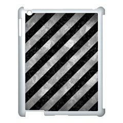 Stripes3 Black Marble & Gray Metal 2 Apple Ipad 3/4 Case (white) by trendistuff
