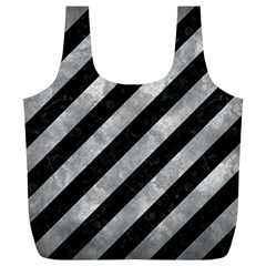 Stripes3 Black Marble & Gray Metal 2 Full Print Recycle Bags (l)  by trendistuff