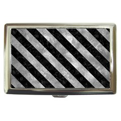 Stripes3 Black Marble & Gray Metal 2 (r) Cigarette Money Cases