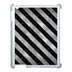 Stripes3 Black Marble & Gray Metal 2 (r) Apple Ipad 3/4 Case (white) by trendistuff