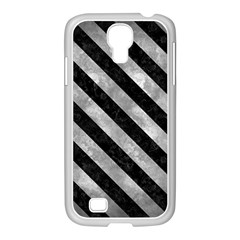 Stripes3 Black Marble & Gray Metal 2 (r) Samsung Galaxy S4 I9500/ I9505 Case (white) by trendistuff