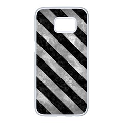 Stripes3 Black Marble & Gray Metal 2 (r) Samsung Galaxy S7 Edge White Seamless Case by trendistuff