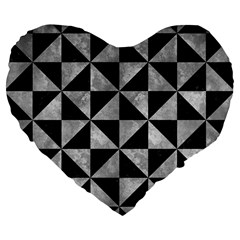 Triangle1 Black Marble & Gray Metal 2 Large 19  Premium Flano Heart Shape Cushions by trendistuff
