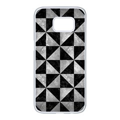 Triangle1 Black Marble & Gray Metal 2 Samsung Galaxy S7 Edge White Seamless Case by trendistuff