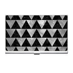 Triangle2 Black Marble & Gray Metal 2 Business Card Holders by trendistuff