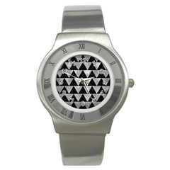 Triangle2 Black Marble & Gray Metal 2 Stainless Steel Watch by trendistuff