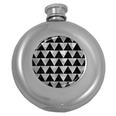 Triangle2 Black Marble & Gray Metal 2 Round Hip Flask (5 Oz) by trendistuff