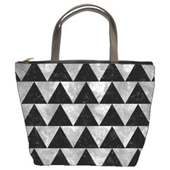 Triangle2 Black Marble & Gray Metal 2 Bucket Bags by trendistuff