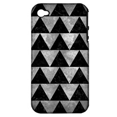 Triangle2 Black Marble & Gray Metal 2 Apple Iphone 4/4s Hardshell Case (pc+silicone) by trendistuff