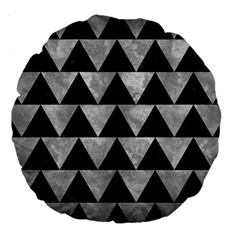 Triangle2 Black Marble & Gray Metal 2 Large 18  Premium Round Cushions by trendistuff