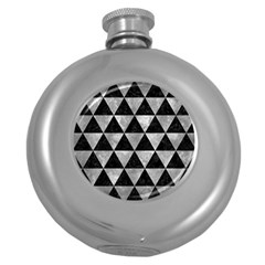 Triangle3 Black Marble & Gray Metal 2 Round Hip Flask (5 Oz) by trendistuff