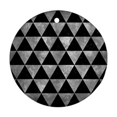 Triangle3 Black Marble & Gray Metal 2 Round Ornament (two Sides) by trendistuff
