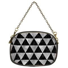 Triangle3 Black Marble & Gray Metal 2 Chain Purses (two Sides)  by trendistuff