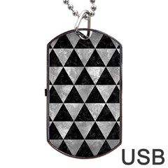 Triangle3 Black Marble & Gray Metal 2 Dog Tag Usb Flash (two Sides) by trendistuff