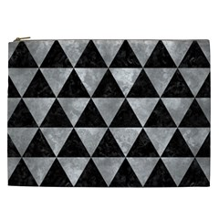 Triangle3 Black Marble & Gray Metal 2 Cosmetic Bag (xxl)  by trendistuff