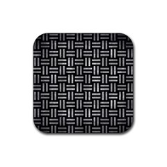 Woven1 Black Marble & Gray Metal 2 Rubber Coaster (square)  by trendistuff