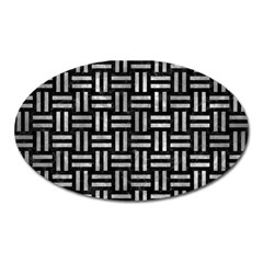 Woven1 Black Marble & Gray Metal 2 Oval Magnet by trendistuff