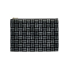 Woven1 Black Marble & Gray Metal 2 Cosmetic Bag (medium)  by trendistuff