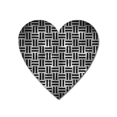 Woven1 Black Marble & Gray Metal 2 (r) Heart Magnet by trendistuff
