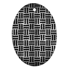 Woven1 Black Marble & Gray Metal 2 (r) Oval Ornament (two Sides) by trendistuff