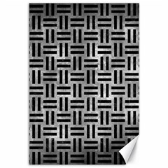 Woven1 Black Marble & Gray Metal 2 (r) Canvas 12  X 18   by trendistuff