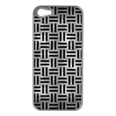 Woven1 Black Marble & Gray Metal 2 (r) Apple Iphone 5 Case (silver) by trendistuff