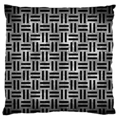 Woven1 Black Marble & Gray Metal 2 (r) Large Flano Cushion Case (one Side) by trendistuff