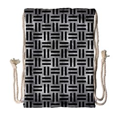 Woven1 Black Marble & Gray Metal 2 (r) Drawstring Bag (large) by trendistuff