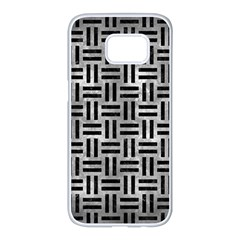 Woven1 Black Marble & Gray Metal 2 (r) Samsung Galaxy S7 Edge White Seamless Case by trendistuff