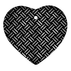 Woven2 Black Marble & Gray Metal 2 Ornament (heart) by trendistuff