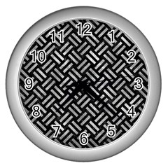 Woven2 Black Marble & Gray Metal 2 Wall Clocks (silver)  by trendistuff