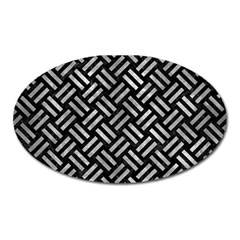 Woven2 Black Marble & Gray Metal 2 Oval Magnet by trendistuff