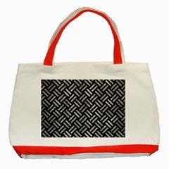 Woven2 Black Marble & Gray Metal 2 Classic Tote Bag (red) by trendistuff
