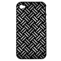Woven2 Black Marble & Gray Metal 2 Apple Iphone 4/4s Hardshell Case (pc+silicone) by trendistuff
