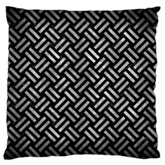 Woven2 Black Marble & Gray Metal 2 Large Flano Cushion Case (two Sides) by trendistuff