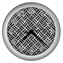Woven2 Black Marble & Gray Metal 2 (r) Wall Clocks (silver)  by trendistuff
