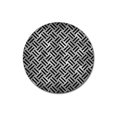 Woven2 Black Marble & Gray Metal 2 (r) Magnet 3  (round) by trendistuff