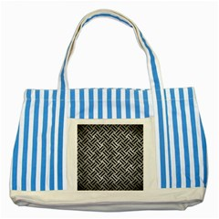 Woven2 Black Marble & Gray Metal 2 (r) Striped Blue Tote Bag by trendistuff