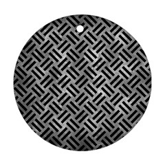 Woven2 Black Marble & Gray Metal 2 (r) Round Ornament (two Sides) by trendistuff
