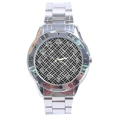 Woven2 Black Marble & Gray Metal 2 (r) Stainless Steel Analogue Watch by trendistuff
