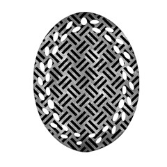 Woven2 Black Marble & Gray Metal 2 (r) Ornament (oval Filigree) by trendistuff