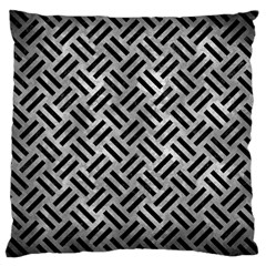 Woven2 Black Marble & Gray Metal 2 (r) Large Cushion Case (two Sides) by trendistuff