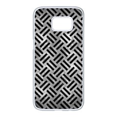 Woven2 Black Marble & Gray Metal 2 (r) Samsung Galaxy S7 Edge White Seamless Case by trendistuff