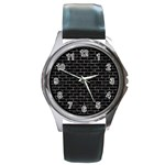 BRICK1 BLACK MARBLE & GRAY STONE Round Metal Watch Front
