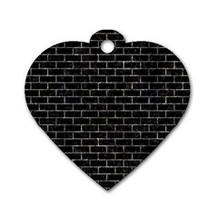 Brick1 Black Marble & Gray Stone Dog Tag Heart (two Sides) by trendistuff