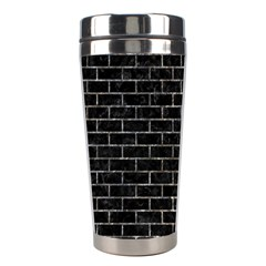 Brick1 Black Marble & Gray Stone Stainless Steel Travel Tumblers by trendistuff