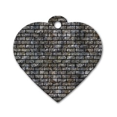 Brick1 Black Marble & Gray Stone (r) Dog Tag Heart (two Sides) by trendistuff