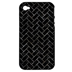 Brick2 Black Marble & Gray Stone Apple Iphone 4/4s Hardshell Case (pc+silicone) by trendistuff